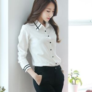 4b9957527fc6cf Image is loading Elegant-Womens-Tops-Blouses-Shirt-Formal-Business-Button-