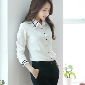 5290b822ea8be Image is loading Elegant-Womens-Tops-Blouses-Shirt-Formal-Business-Button-