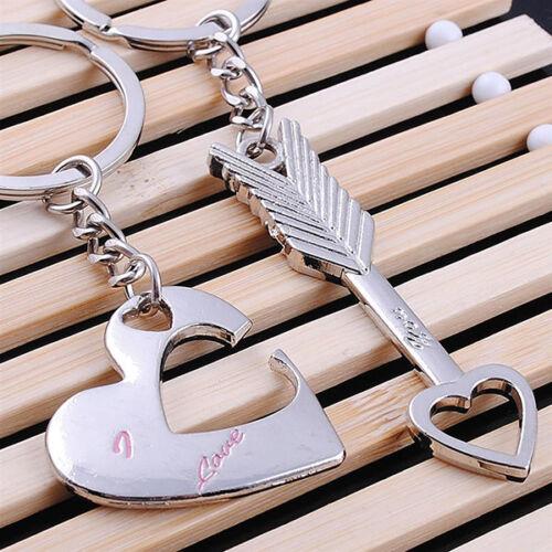 1Pair Valentine/'s Day Lover Gift Heart Key Set Fashion Keychain Keyring Keyfob