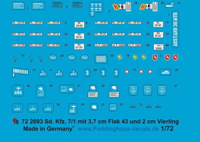 Peddinghaus-Decals 1//72 0792 Sd kfz 251 Markierungen