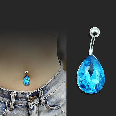 NEW Blue Tear Drop Rhinestone Button Barbell Bar Piercing Belly Body Navel Ring