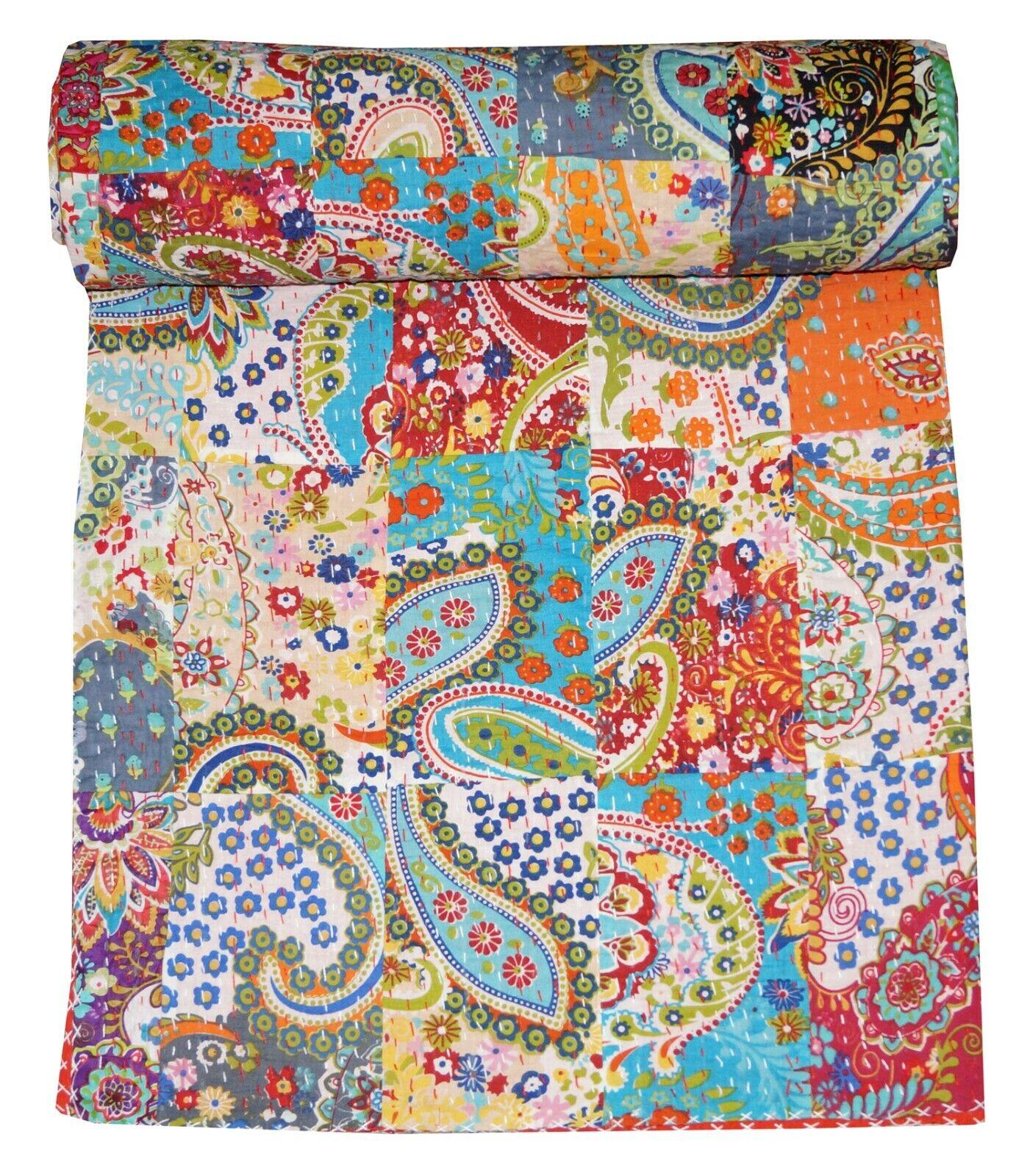 Indische Kantha Decke Baumwolle Tagesdecke Handmade Überwurf Decke Gudri Art