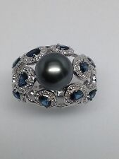14K White Gold 9mm Black Pearl Natural Blue Sapphire and Diamond Ring Size 7.5