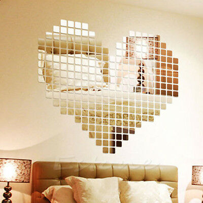 100 Mirror Tile Wall Sticker 3D Decal Mosaic Room Decor Stick On Modern Art Hot