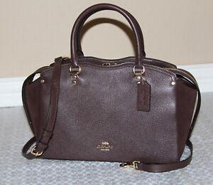NWT-COACH-Mixed-Leather-Drew-Satchel-Carryall-Bag-Purse-Handbag-Oxblood-395