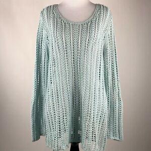 Details about J. Jill Women Mint Green Open Crochet Long Sleeve Pullover Sweater Top sz L