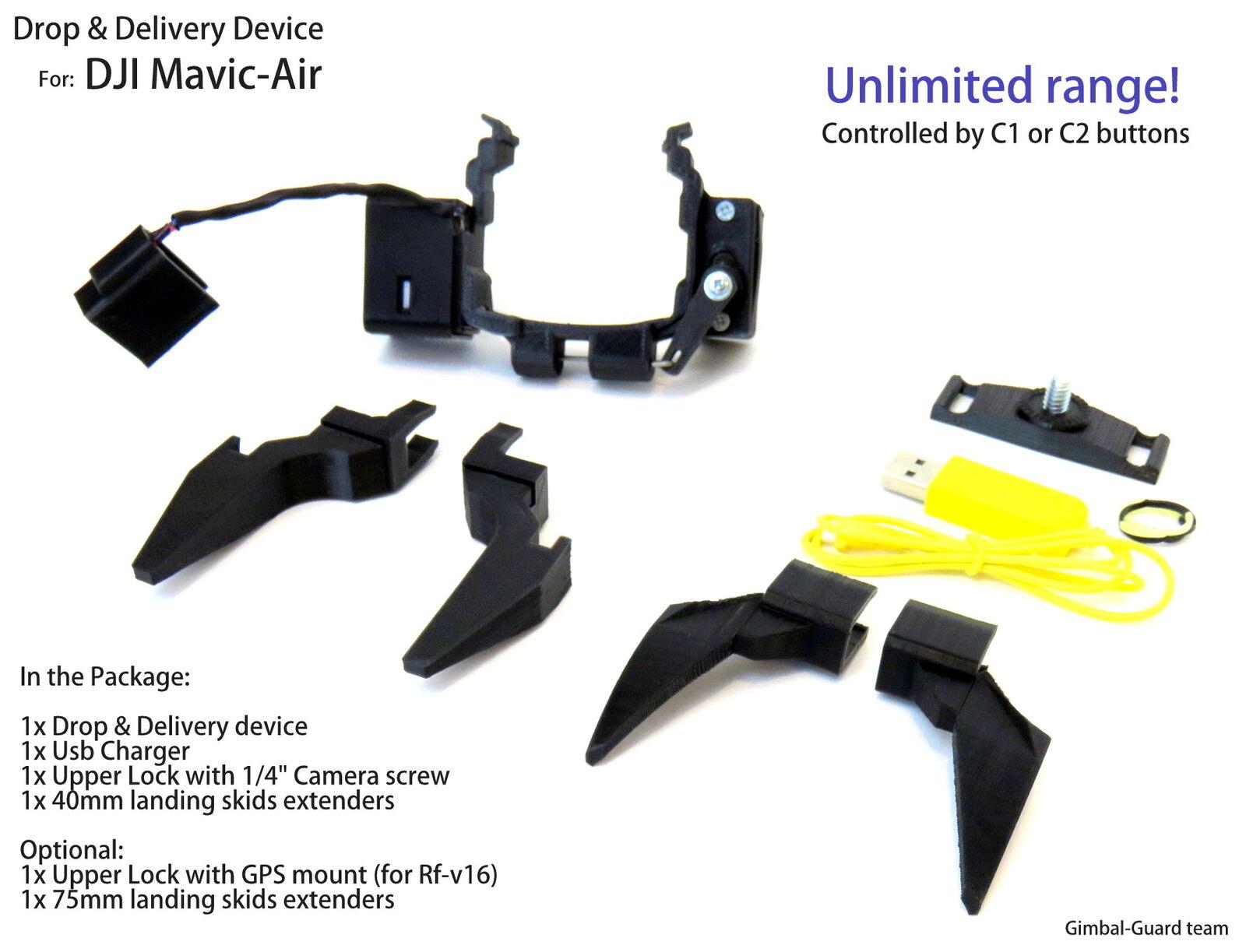 Dispositivo de gota para DJI Mavic Aire. Drone Pesca Rescate. con patines 40 mm
