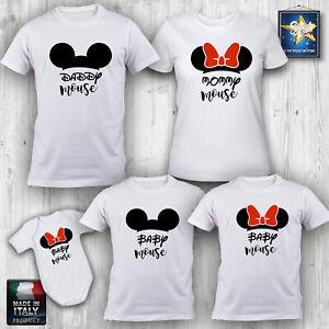 T-shirt-magliette-famiglia-FAMILY-TOPOLINO-MINNIE-NATALE-COMPLEANNO-Idea-Regalo