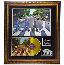 """THE BEATLES """"ABBEY ROAD"""" FRAMED GOLD LP RECORD COLLAGE #D/25 W/ AUTOGRAPHS PHOTO"""