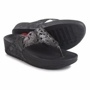 1bfb5a30f FitFlop Flora Women s Black Suede Sparkle Flip Flop Sandals Sz 11 M ...