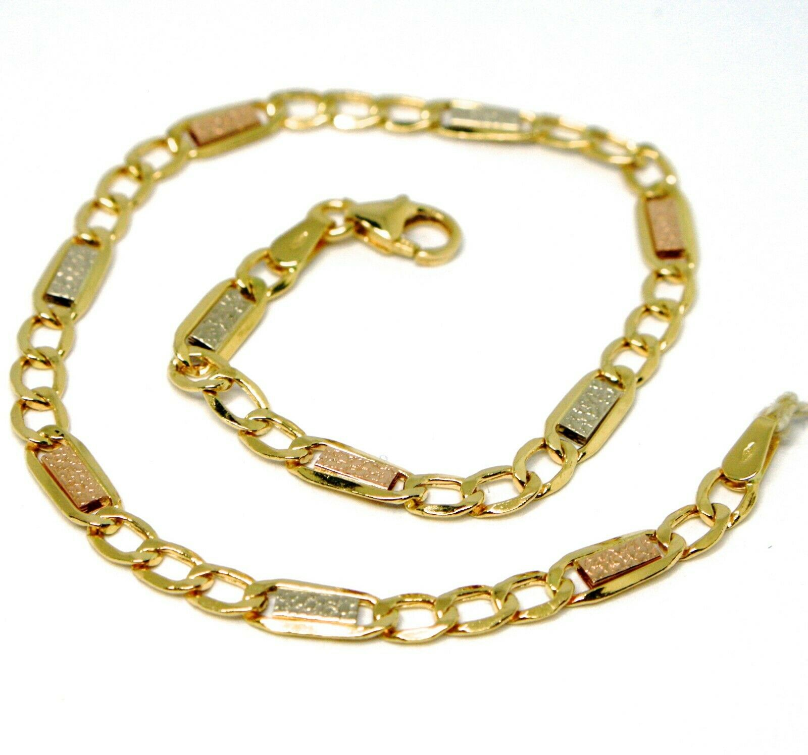 BRACELET YELLOW gold WHITE pink 18K 750, INSERTED RECTANGULAR AND OVALS, BUBBLES
