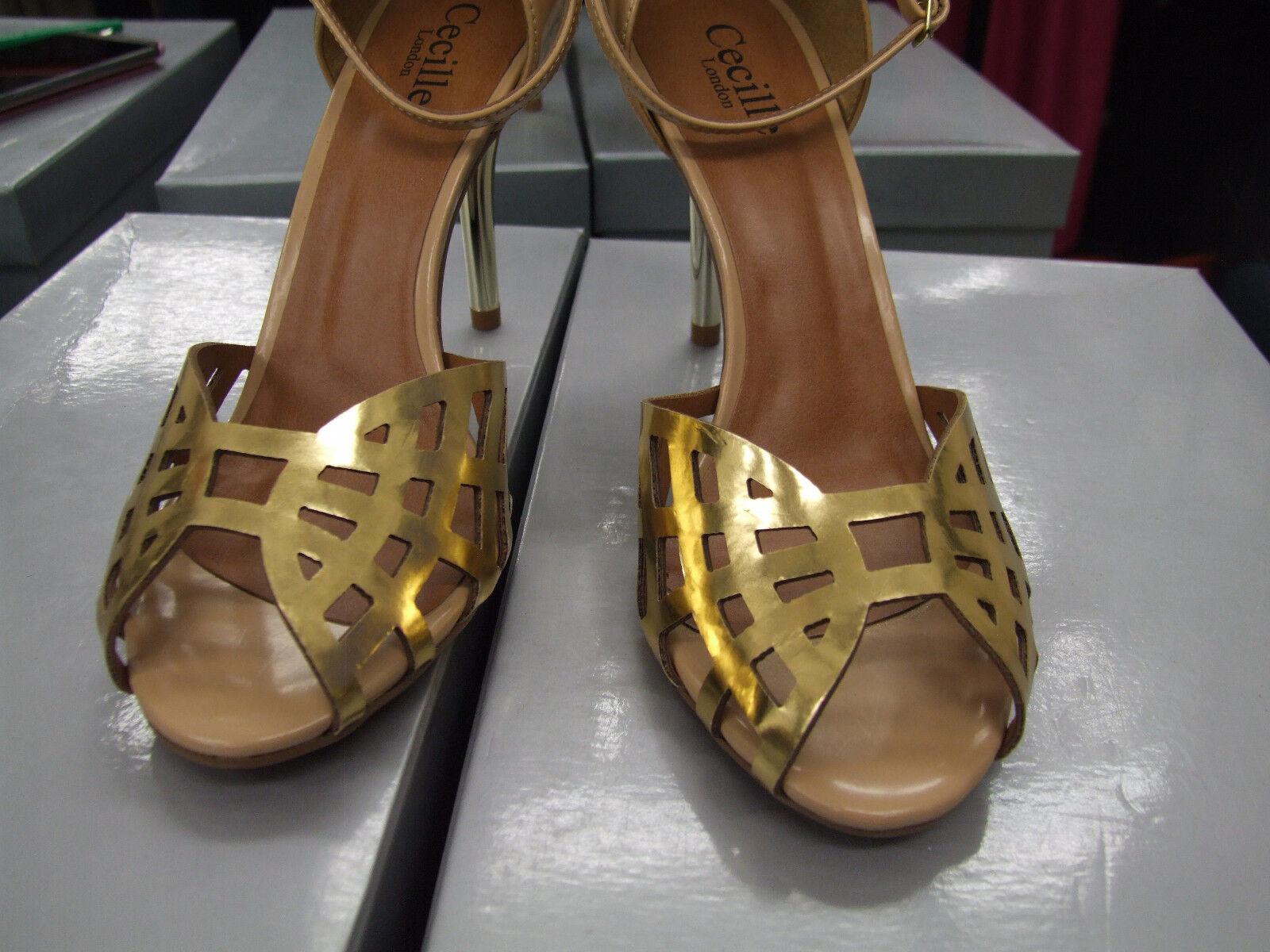 Cecille UK 4 Sensational High Heel Tan Eve & Gold Mesh +Heel Eve Tan Sandals Shoes EU 37 0eac65