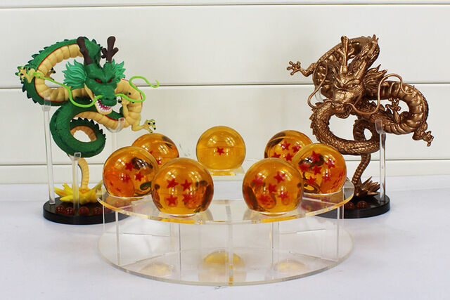 DRAGON BALL/SET DRAGON SHENRON+ 7 BOLAS 3,5 CM+ESTANTE( GOLD & Grün) NO BOX