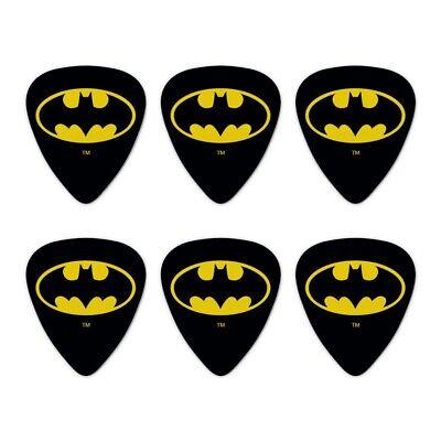 Set of 6 Batman Classic Bat Shield Logo Novelty Guitar Picks Medium Gauge