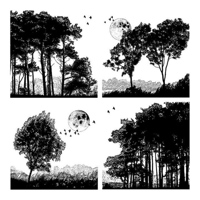Crafty Individuals Rubber Stamps, Four Tree Landscapes, Trees, Silhouettes, Moon