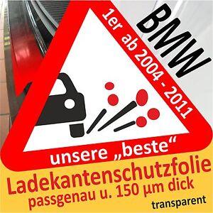 LADEKANTENSCHUTZ Lackschutzfolie für  BMW 1er E81 E87 ab 2004 schwarz glänzend
