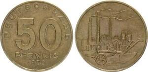 GDR-50-Pfennig-1950-a-10-Mint-State-Messingpatina