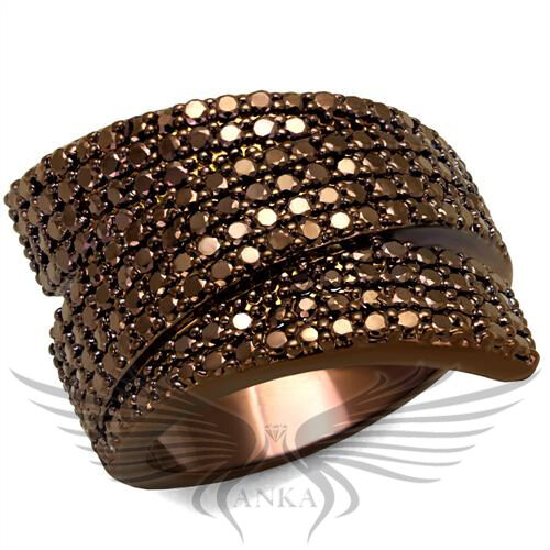 Brilliant Micro Paved Cubic Zircon CZ AAA Coffee Ion Plated Fashion Ring 3W1125