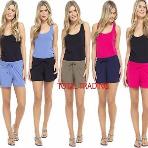 Womens-Summer-Holiday-Shorts-Ladies-Jersey-cotton-Hotpants-beach-hot-pant-lot