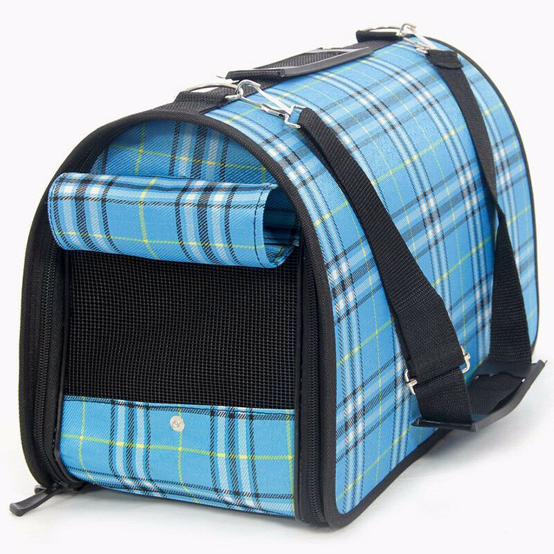 Pet Dog Cat Portable Travel Carrier Tote Cage Bag Crate Kennel   Small bluee