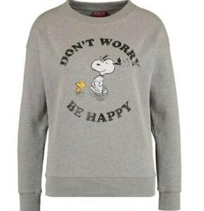 BNWT - PEANUTS SNOOPY - GREY MARL DON'T WORRY Sweatshirt Sweater Jumper - Size S