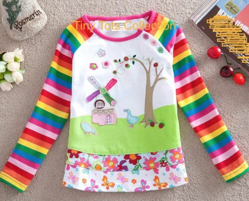 BNWT NEW with tags girls long sleeve top shirt rainbow ducks farm size 4