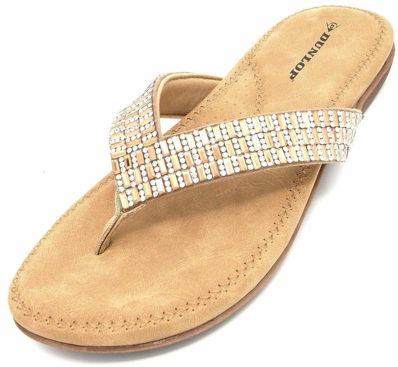 Ladies Dunlop DLP014 pink gold Beaded Soft Cushioned Flip Flop Toe Post Sandals