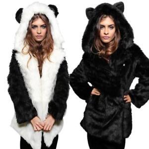 Femme Hooded Parka Sur Fourrure Manteau Veste Oreilles Panda Détails Long Outwear Chat Hiver 8n0OwkPXZN