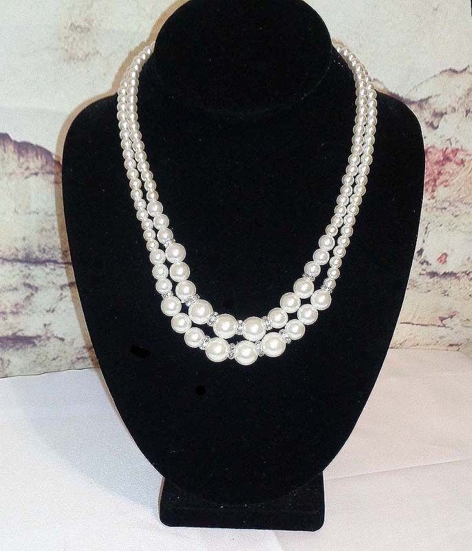 2 Strand Simulated Pearl Necklace with Crystal Spacers