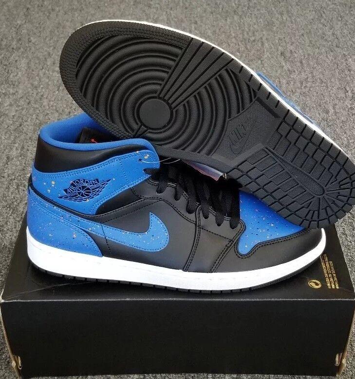 Nike air jordan 1 mitte mens sz 10,5 farbe splatter - schwarz orange Blau 554724 048