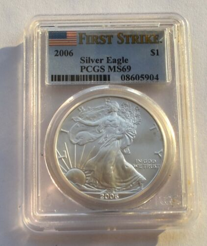 UNITED STATES 2006 SILVER EAGLE $1 DOLLAR FIRST STRIKE COIN PCGS MS69