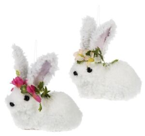 Ganz-E9-Easter-Home-Garden-Decor-Bunny-4x3-5in-Figurine-Ornament-2pc-Set
