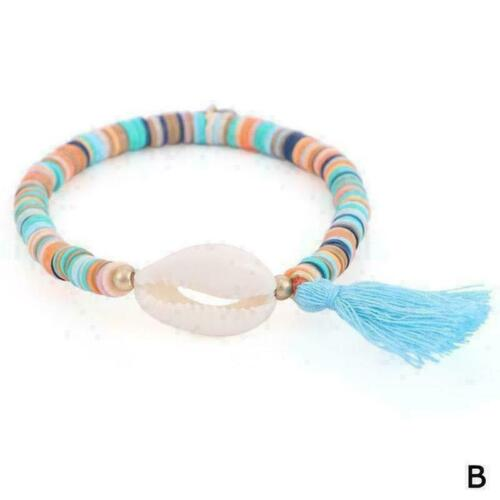 Bunte Muschel Armband elastische böhmische Lehm Perlen Schmuck Armbänder M5 S0T2