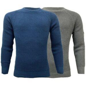 Mens-Jumper-MINEHEAD-Crosshatch-Knitted-Sweater-Pullover-Top-Raglan-Warm-New