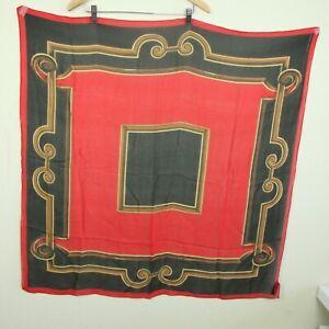 Vintage-Ellen-Tracy-Large-Square-Silk-Scarf-37-034-Sheer-Red-Black-Baroque-Scroll