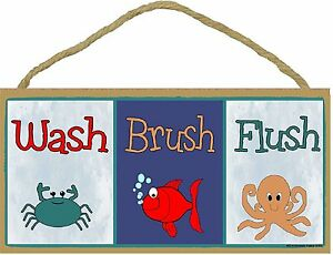 Kids bathroom sign Directional Image Is Loading Washbrushflushfishcraboctopuskidsbathroom Ebay Wash Brush Flush Fish Crab Octopus Kids Bathroom Sign Plaque 5