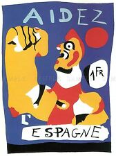 WAR PROPAGANDA HELP SPAIN SPANISH CIVIL MIRO AID VINTAGE ADVERT POSTER 2693PYLV