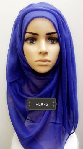 Hijab print plain head scarf maxi chiffon jersey crimp cotton viscose PL#75