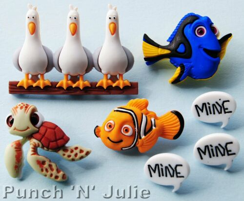 FINDING NEMO Disney Fish Turtle Seagulls Dory Squirt Dress It Up Craft Buttons