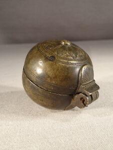 Ancienne Boule Boite En Bronze Cisele Travail Oriental Boite A Onguents