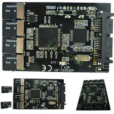 """4 Micro SD to Micro SATA Adapter RAID TF card to MicroSATA 1.8"""" SSD enclosure"""