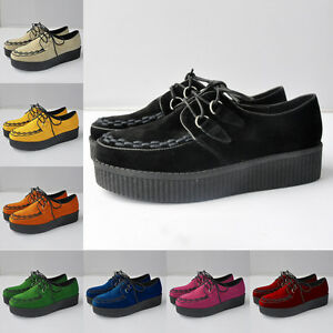 Ladies-Faux-Velvet-Platform-Lace-Up-Flats-Creepers-Winter-Shoes-Size-AU3-5-8-5