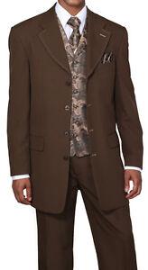 Mit Weste Neu Herren' 4 Knöpfe Mode Anzugshose Krawatte Taschentuch Braun # Phantasie Farben