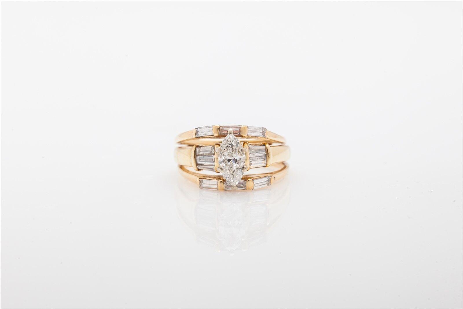 Estate  6000 2ct Marquis Diamond 14k Yellow gold Wedding Ring Set