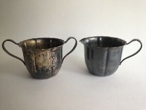 625-Silver-Plated-Sugar-Serving-Bowl-Cup-Dish-amp-Creamer-Vintage-Wm-Rogers