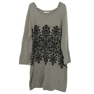 Studio-One-Gray-Sweater-Dress-Plus-Size-2X-Black-Damask-Accent-Long-Sleeve-Tunic