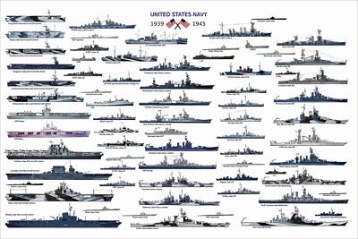 POSTER WW2 Battleship KMS Yamato iowa LAFFEY Aircraft carrier YORKTOWN Hiryu