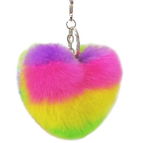 Rainbow Heart Key Chain Pompom Ball Keychain Fluffy Bag Keyring Xmas Gift X1F