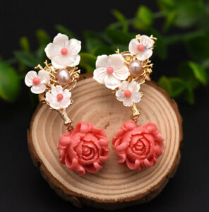 B15-Earrings-Gold-Plated-Blossom-Branch-Coral-Freshwater-Pearls-Rose-Quartz