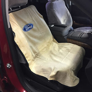 ford logo car seat towel slip on cotton terry cloth tan seat cover 47 x 24 ebay. Black Bedroom Furniture Sets. Home Design Ideas